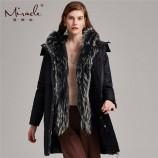 (白鹅绒两件套)漫丽依2018冬季高贵大貉子毛领中长款羽绒服  8008·黑色