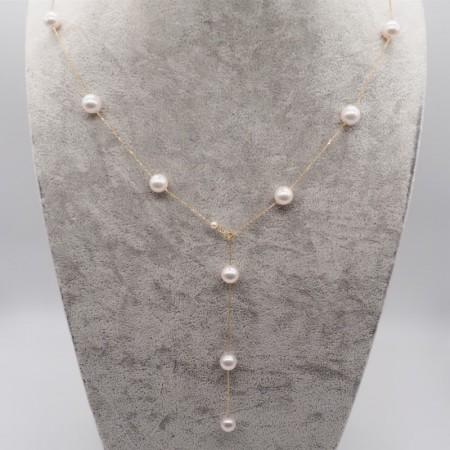 Vermeer 14K金AKOYA海水珍珠满天星项链60cm 7.5-8mm·白
