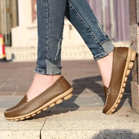 新款牛皮薄底柔软豆豆鞋·卡其色