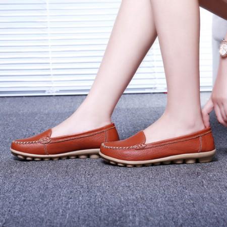 新款牛皮薄底柔软豆豆鞋·桔色