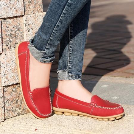 新款牛皮薄底柔软豆豆鞋·红色