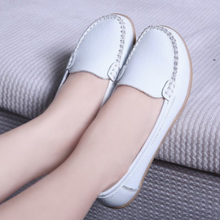 新款牛皮薄底柔软豆豆鞋·白色