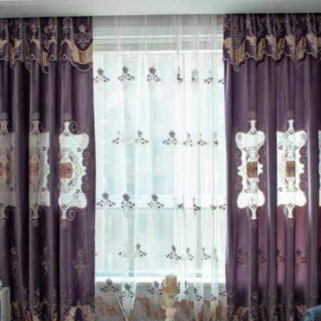 米格妮菲-紫韵新风尚豪华刺绣窗帘·紫色