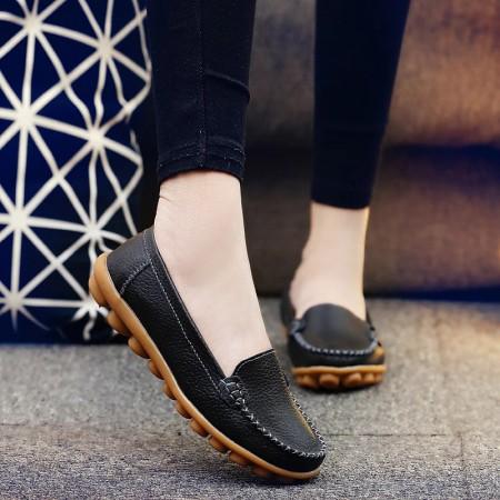 新款牛皮薄底柔软豆豆鞋·黑色