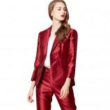 欧力丝OLISI女装大气时尚优雅光泽感面料外套·酒红色