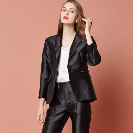 欧力丝OLISI女装大气时尚优雅光泽感面料外套·黑色