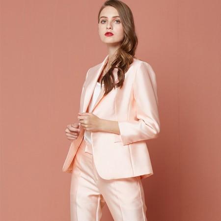 欧力丝OLISI女装大气时尚优雅光泽感面料外套·粉色