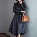 安柘娜 中长款皮衣女外套K22291·黑色