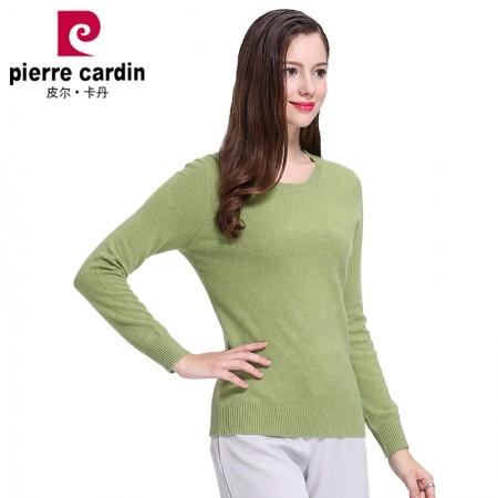 皮尔卡丹山羊绒女套头圆领纯色修身打底衫