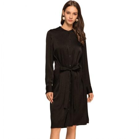 丁摩 时尚长袖系带单排扣衬衫裙中长款连衣裙·黑色