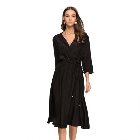 丁摩 重磅真丝珍珠系带连衣裙·黑色