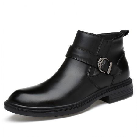 意大利宾渡 2018冬季男士加绒皮靴9911·黑色  黑色
