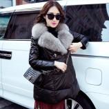 安柘娜 女士绵羊皮中长款羽绒服狐狸毛皮草外套KBYN-001·黑色