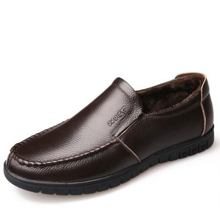 意大利宾渡 冬季加棉头层牛皮皮鞋8823-1·棕色