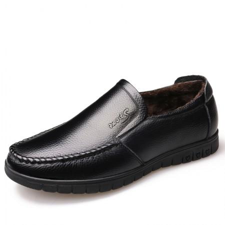 意大利宾渡 冬季加棉头层牛皮皮鞋8823-1·黑色