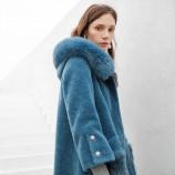 皮尔卡丹狐狸毛领连帽羊毛大衣-8092-蓝色·蓝色