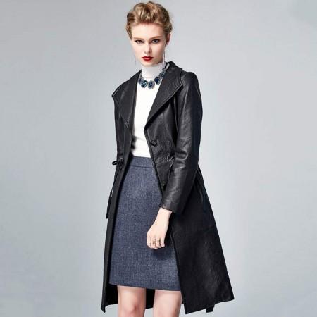 皮尔卡丹中长简约收腰绵羊皮衣-0050-黑色·黑色