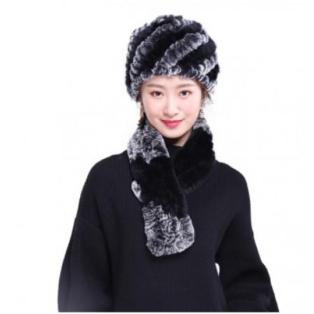 雪域豹王獭兔毛皮草暖冬围巾·黑色