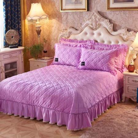 一梦 水晶绒欧式床盖 250*250cm 送一对枕套·心心相印-浅紫