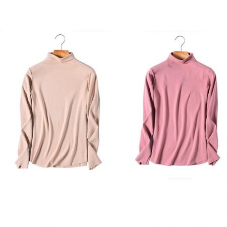 秋冬女款无痕德绒高领保暖衣两件组(多色可选)·肤色+藕粉色