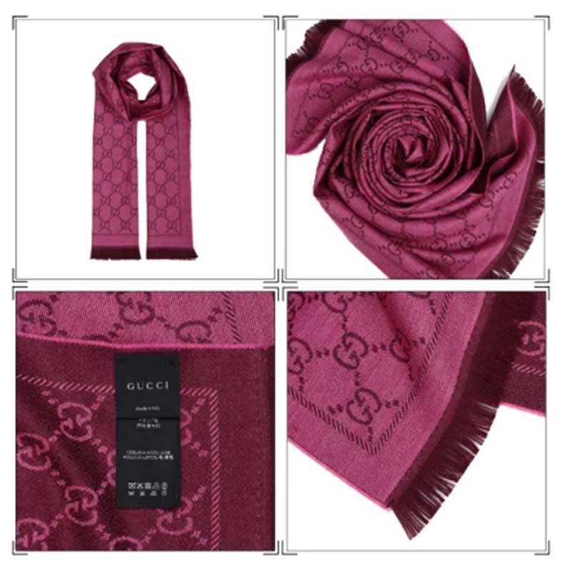 GUCCI经典双面钻石纹提花羊毛围巾·玫红色