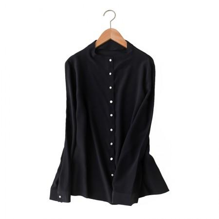妖歌 双绉重磅真丝桑蚕丝珍珠排扣衬衣衫·黑色