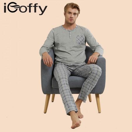 欧菲(icoffy) 男士纯棉格子长袖家居服套装(OF201621)·灰色