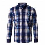 莱恩雷迪2019新款时尚拼色格子刺绣舒适棉微弹男式长袖衬衫203252238·蓝灰格