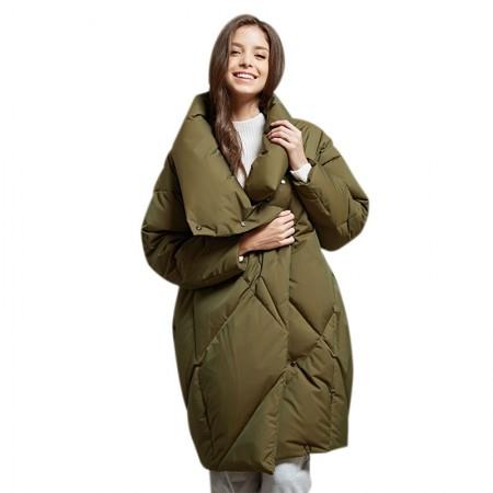 今升 面包茧型加厚90白鹅绒冬季羽绒服中长款·军绿色