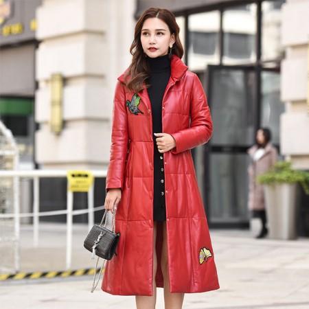 今升 立领小鸟绣花修身绵羊皮真皮皮羽绒服外套·红色