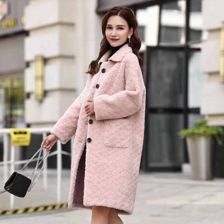 今升 方领直筒单排扣蒙古毛羊毛皮草大衣外套·粉色