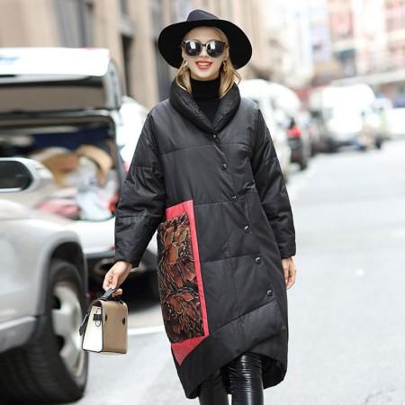 今升 复古风大口袋绵羊皮真皮皮羽绒服外套·黑色