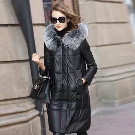 今升 大狐狸毛领宽松绵羊皮真皮皮羽绒服外套·黑色