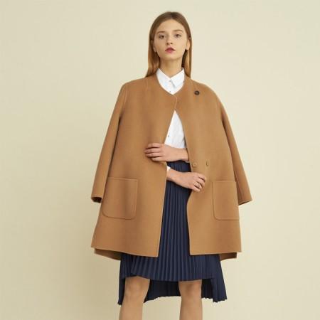 尚街 时尚立圆领百分百羊毛呢大衣·驼色