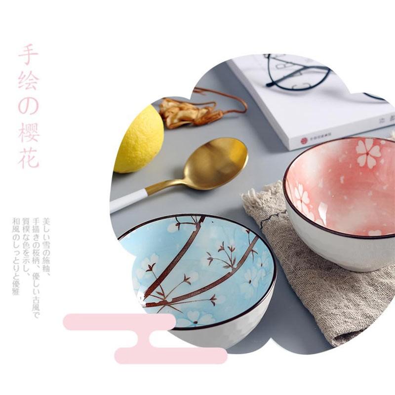 日式釉下彩创意陶瓷樱花碗10头组·樱花蓝