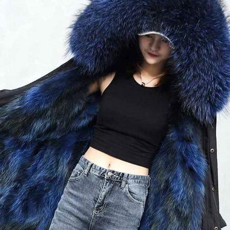Afayedi保暖三防面料超大狐狸毛彩色内胆派克服中长款·蓝色内胆