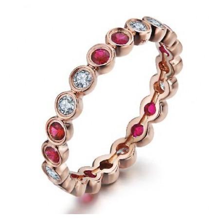 梦思芭克18K玫瑰金红宝石排钻戒指