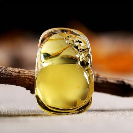 曼丽翠波罗的海天然精品蜜蜡福禄呈祥金黄蜜蜡葫芦吊坠