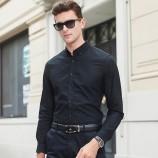 意大利富铤 2019春季新款男士长袖衬衫商务休闲百搭纯色100棉经典男士衬衫·黑色