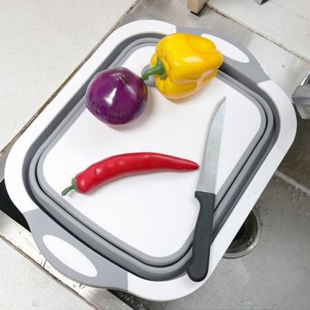 折叠菜板家用防霉多功能塑料切菜熟食水果沥水砧板·灰色