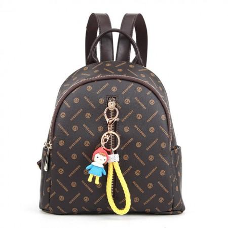贝尔 新款专属面料双肩包手提包时尚女包包·深咖