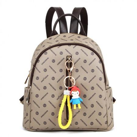 贝尔 新款专属面料双肩包手提包时尚女包包·杏色