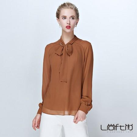 尚街 气质百搭纯色真丝系带长袖衬衫(SJ5002)·姜黄色