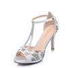 名典水钻高跟一字扣包后跟凉鞋581008 银色