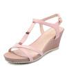 名典混合材质坡跟T形凉鞋 粉色