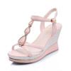 名典坡跟水钻金属装饰扣带凉鞋533221 粉色