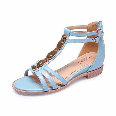 名典金属装饰罗马凉鞋555382 兰色