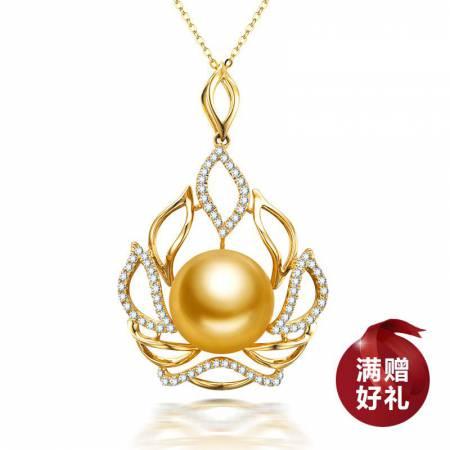 水年华14K金镶钻女神之冠金珍珠吊坠·金色