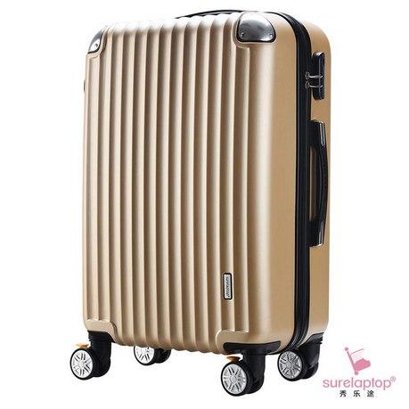 秀乐途 磨砂面ABS款耐磨防刮刹车轮拉杆箱万向轮行李箱 20寸·金色