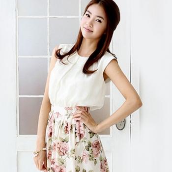 中性花纹配色连衣裙 白色